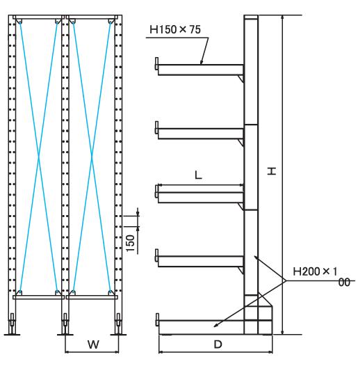 固定ラック カンチラック 耐荷重700kg 長尺物保管 木材 建材保管