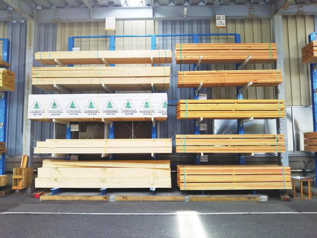カンチラック ボルトレス式 木材保管 重量ラック マテハン三重